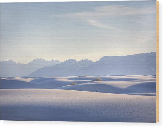 White Sands Blue Sky Wood Print