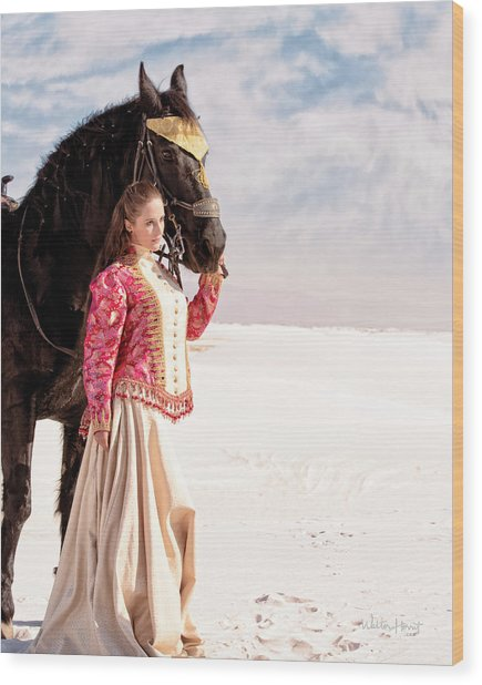 White Sands Horse And Rider #2a Wood Print
