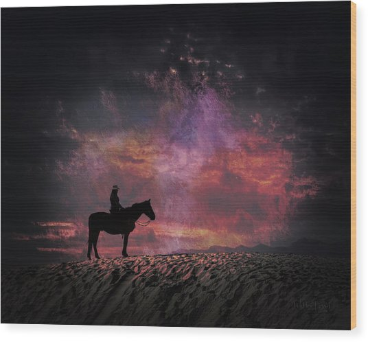 White Sands Horse And Rider #4c Wood Print