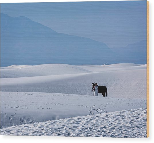 White Sands Horse And Rider #5b Wood Print