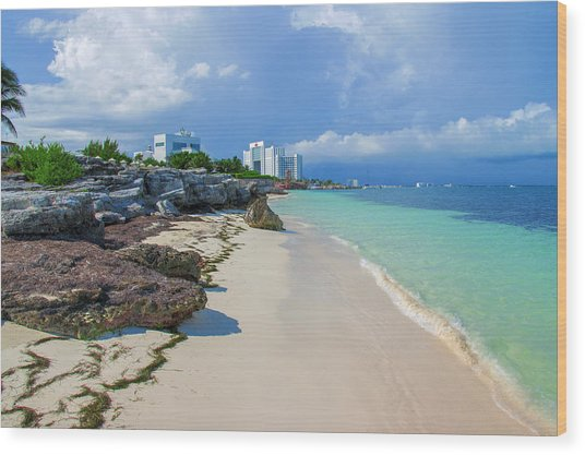 White Sandy Beach Of Cancun Wood Print