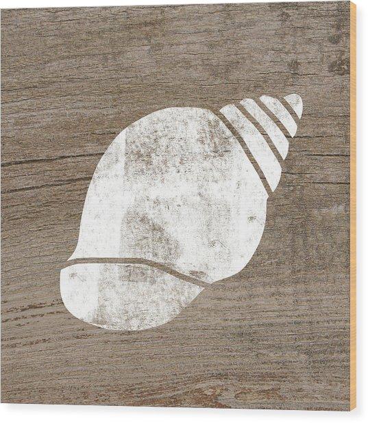 White Seashell- Art By Linda Woods Wood Print