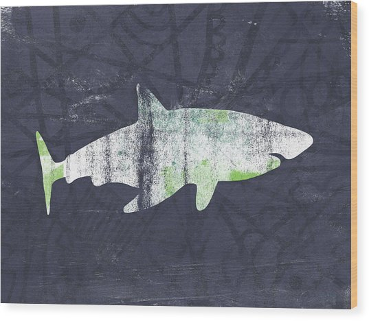 White Shark- Art By Linda Woods Wood Print
