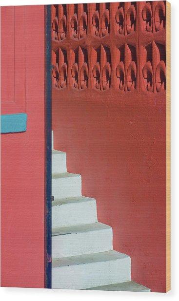 White Staircase Venice Beach California Wood Print