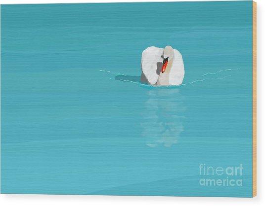 White Swan Blue Lake Wood Print