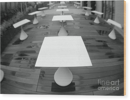 White Tables Wood Print