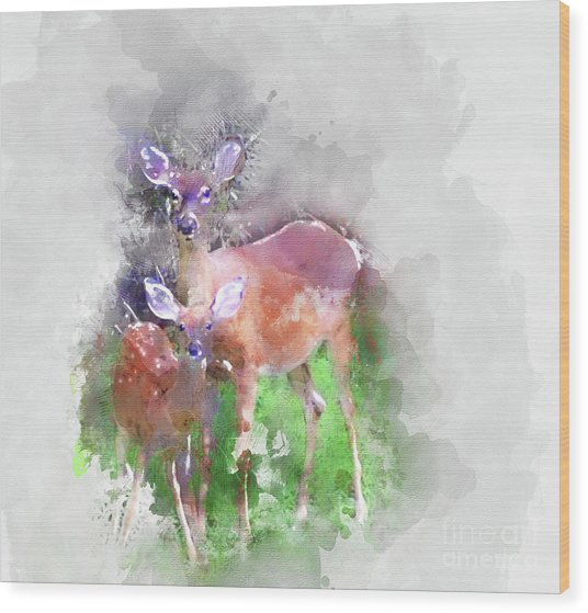 White Tail Deer In Watercolor Wood Print