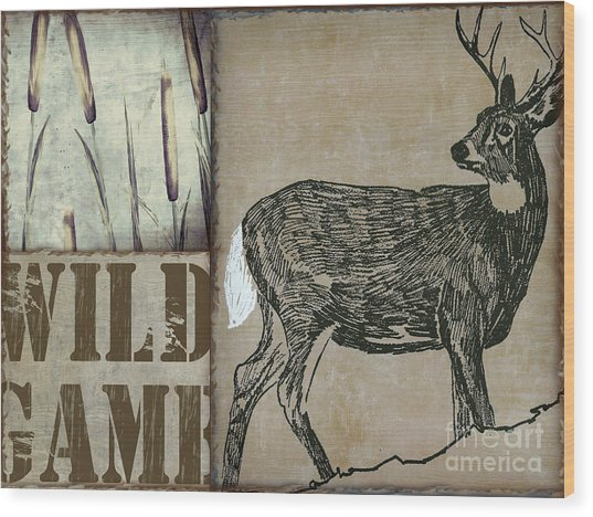 White Tail Deer Wild Game Rustic Cabin Wood Print