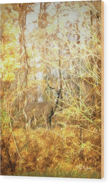 Wood Print featuring the digital art White-tail Woods by Barry Jones