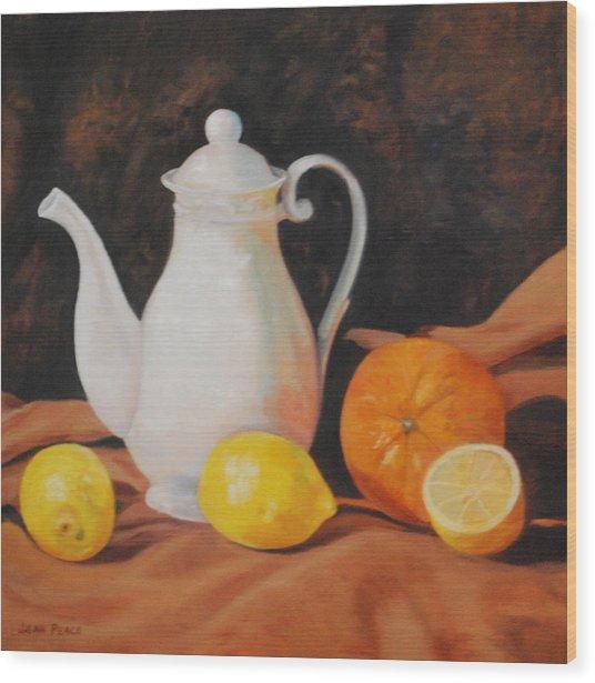White Teapot Wood Print by Jean Peace