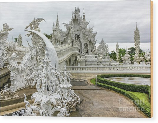 White Temple Thailand Wood Print