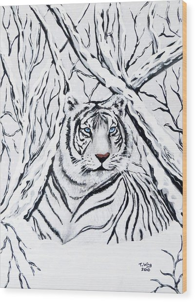 White Tiger Blending In Wood Print