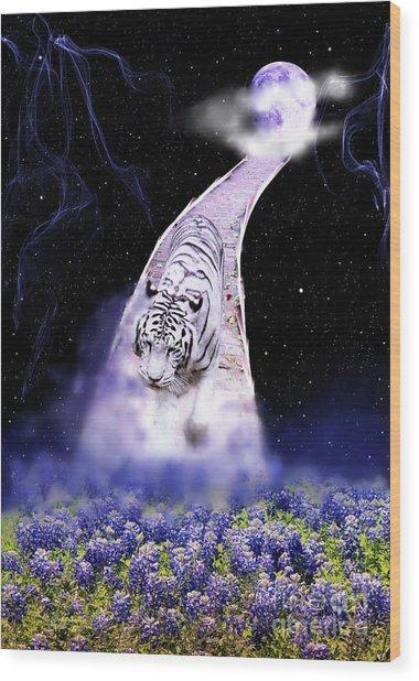 White Tiger Fantasy Wood Print