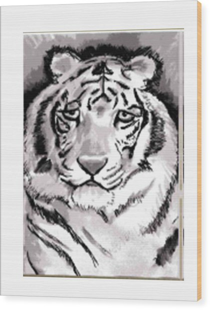 White Tiger Wood Print by Terry Groehler