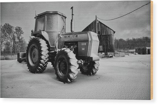 White Tractor Wood Print