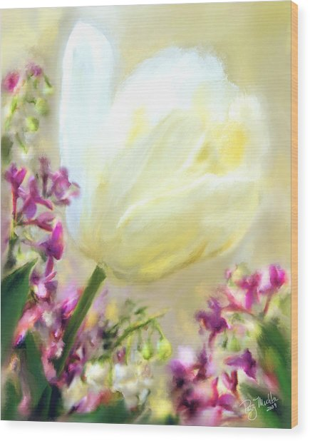 White Tulip Glow Wood Print by Patty Muchka