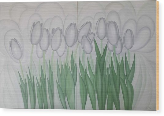 White Tulips  Wood Print by Marinella Owens
