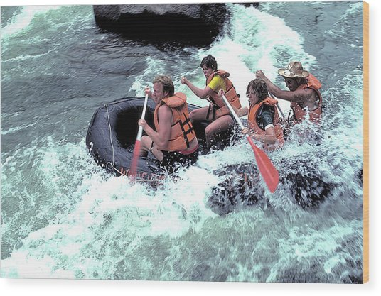White Water Rafting Wood Print by Carl Purcell