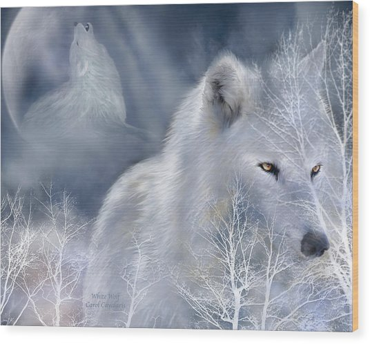 Wood Print featuring the mixed media White Wolf by Carol Cavalaris