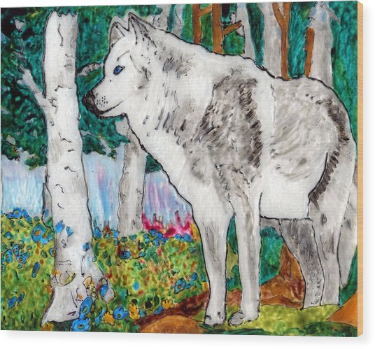 White Wolf In Spring Wood Print