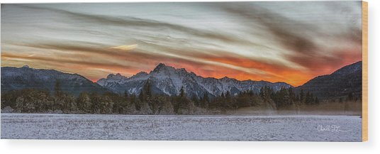 Whitehorse Sunset Panorama Wood Print