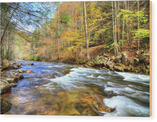 Whitetop River Fall Wood Print