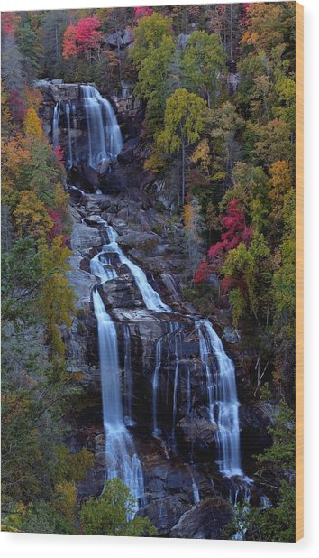 Whitewater Falls In Autumn Wood Print