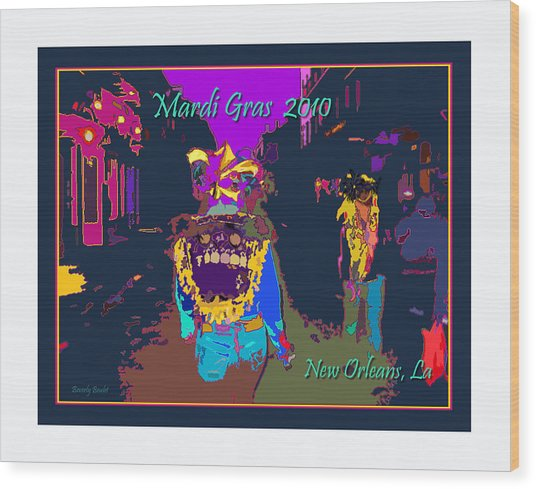 Who Dat At Night In The Quarter Wood Print