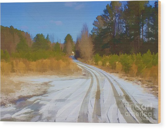 Snow Covered Lane Wood Print