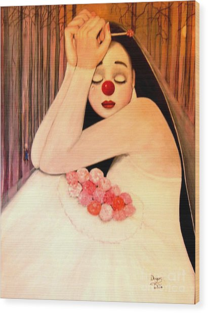 Why Is The Bride Crying Wood Print by Patricia Velasquez de Mera
