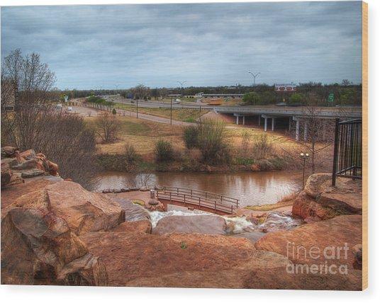 Wichita Falls View Wood Print by Fred Lassmann