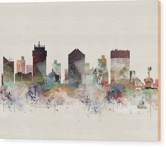 Wichita Kansas Skyline Wood Print