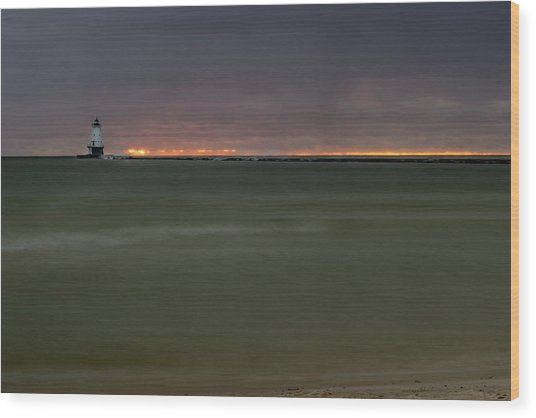 Wide View Of Lighthouse And Sunset Wood Print