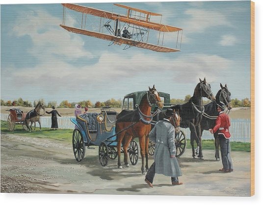 Wilbur Wright In France Wood Print by Kenneth Young