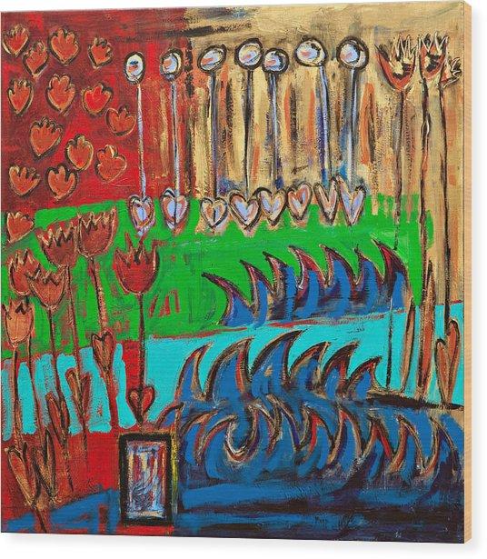 Wild Abstract Garden Wood Print by Maggis Art