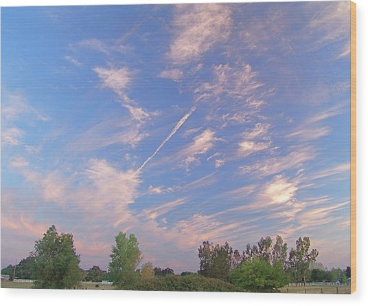 Wild And Crazy Sky Wood Print by John Norman Stewart