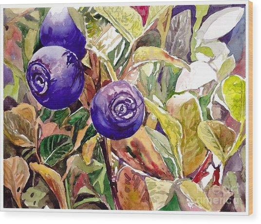 Wild Blueberries Wood Print