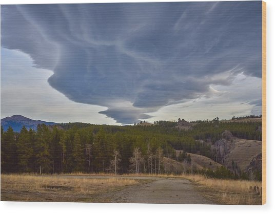 Wild Clouds In The Mountains Wood Print
