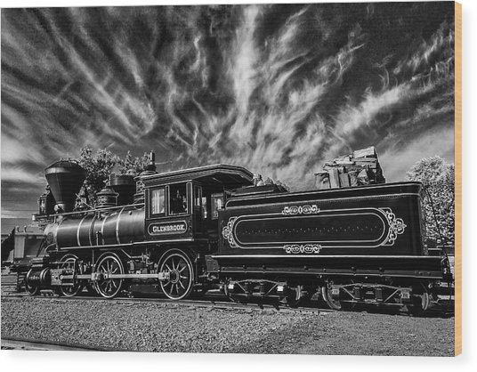 Wild Clouds Over Old Train Wood Print