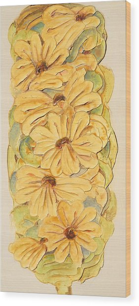 Wild Flower Abstract Wood Print