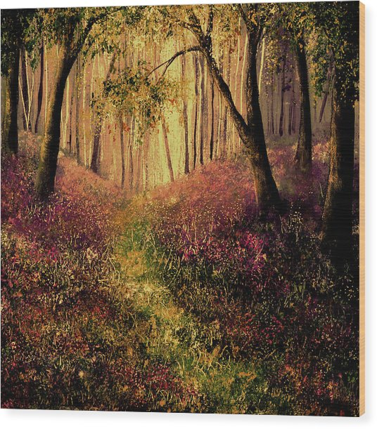Wild Flower Forest Wood Print by Ann Marie Bone