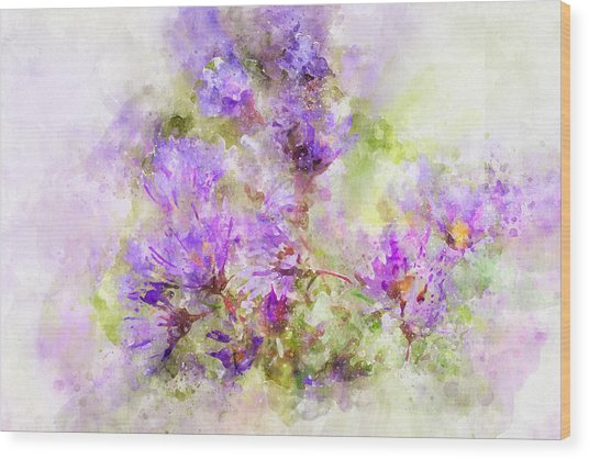 Wild Flowers In The Fall Watercolor Wood Print