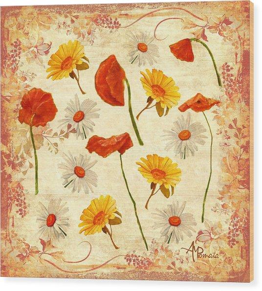 Wild Flowers Vintage Wood Print