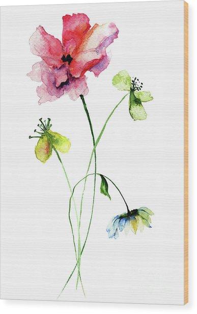 Wild Flowers Watercolor Illustration Wood Print