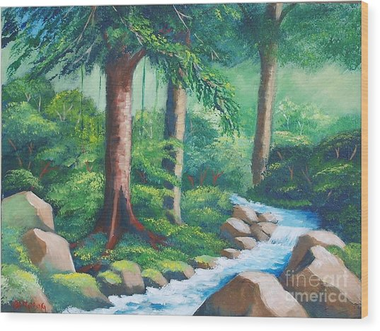 Wild Forest River Wood Print
