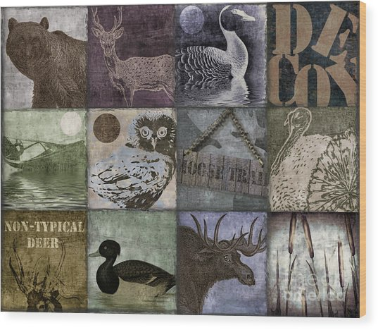 Wild Game Patchwork II Wood Print