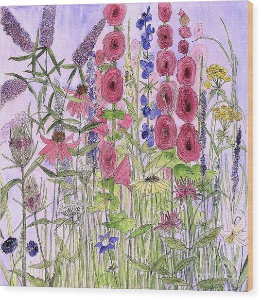 Wild Garden Flowers Wood Print