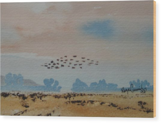 Wild Geese Heading Home. Wood Print by Roger Cummiskey