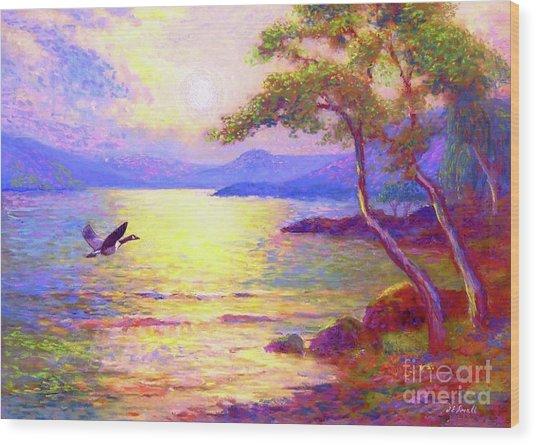 Wild Goose, Moon Song Wood Print