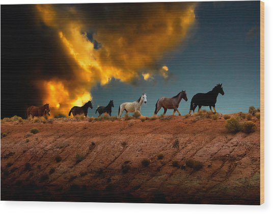 Wild Horses At Sunset Wood Print